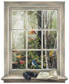 Bird Watching Trompe L'Oiel Window - this poster should be in my office.