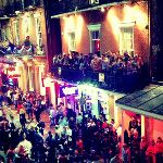 I love the craziness of Bourbon Street during #MardiGras....but I really question the safety of those balconies. So many people crammed up there and where's the support poles? Makes me nervous...but it's so much fun!