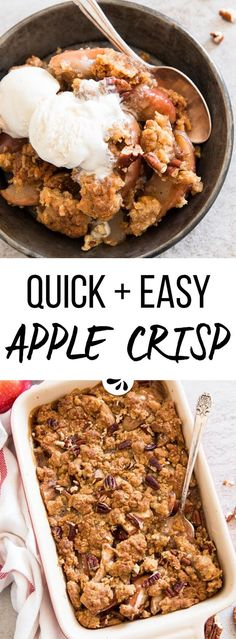 If you want to make the best quick apple crisp - your search is over. This easy recipe is absolutely foolproof and so scrumptious! The simple topping is made with butter, sugar, flour and oatmeal. The apple filling is spiced up with cinnamon and bakes up a delicious and bubbly sauce for that old fashioned feel. There's really no better homemade dessert to enjoy during fall - serve warm with vanilla ice cream for an extra treat.
