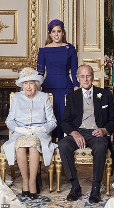 Princess Beatrice of York (sister of Princess Eugenie of York) with her grandparents, Queen Elizabeth II and Prince Phillip, The Duke of Edinburgh.