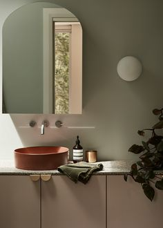 Interior Design by @tommarkhenry Featured Product: Concrete Nation Halo Basin in Red Iron. Mark Henry, Concrete Basin, Terracotta Floor, Custom Vanity, Oval Mirror, Bathroom Wall, Bathroom Lighting, Mid Century Style, Mid Century House