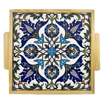 Square Wooden Tray. Armenian Ceramic