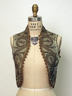 Turkish wool green vest with ornate swirling brown embroidery and soutache trim. 1800s