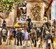 Les funérailles de Victor Hugo à l'Arc de Triomphe, en 1885 par Jean Béraud.