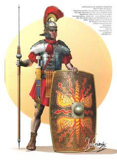 0060 : 0070 Legionario romano con coraza segmentata. Римский легионер, 60-70 года н.э.