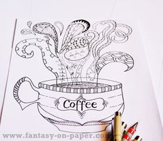 Coffee coloring page for adults by FantasyOnPaper on Etsy