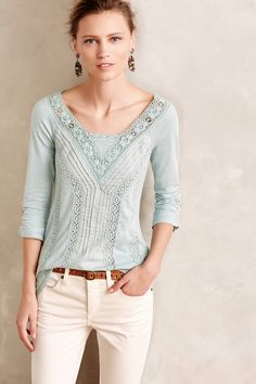 at Anthropologie Lace Medley Top in sky