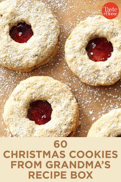 60 Christmas Cookies from Grandma's Recipe Box - Holiday Recipes Christmas Sweets, Christmas Cooking, Christmas Parties, Baking For Christmas, Christmas Cookie Boxes, Christmas Time, Christmas Goodies, Köstliche Desserts, Dessert Recipes