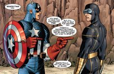 johnromitajr:  Cap and Cyclops by John Romita Jr for Marvel Comics. Avengers vs X-Men.  Captain America: You want to have this discussion? Fine. But it'll have to wait for another day. There's a destructive force headed towards Earth and we have to figure out a way to stop it. Cyclops: Respectfuly, get the hell off my island.