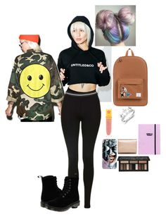 """""""Untitled #251"""" by sammygl ❤ liked on Polyvore featuring Kat Von D, Kate Spade, Jeffree Star, Untitled & Co, Casetify, Audrey 3+1, Topshop, Dr. Martens, Herschel Supply Co. and Big Bud Press"""