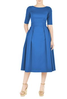 Cotton poplin bow belted dress from eShakti
