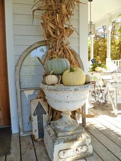 Gorgeous Fall Porch Display, love that antique urn! From Patina White. #Fall