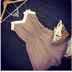 Romper and wedges. Love