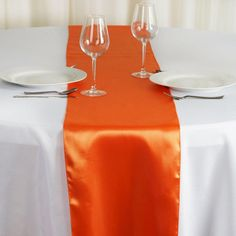 BalsaCircle 10 pcs 12 x 108 inch Orange Satin Table Runners Wedding Table Top Party Supplies Reception Linens Decorations Party Catering, Wedding Catering, Catering Ideas, Catering Buffet, Catering Display, Orange Table, Wedding Decorations, Table Decorations, Wedding Centerpieces