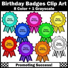 You will receive 9 happy birthday badges. These work well for a birthday theme unit, student cards, invitations, posters, awards, certificates or birthday months bulletin board display. Kids love cute clipart! Teachers may use these graphics in their classrooms for personal or commercial use.