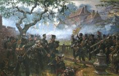 Nassau Light infantry falling back to the garden walls of Hougoumont Nassau, Waterloo 1815, Battle Of Waterloo, Military Art, Military History, Waterloo Battlefield, Bataille De Waterloo, World Of Warriors, Fantasy Battle