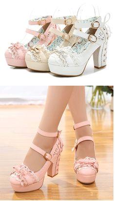 Sweet High Heels, Lolita Shoes, Japanese Princess Lace, Bow Tie, Single Women's Heel, Waterproof Table Women Shoes-in Women's Pumps from Shoes on Aliexpress.com | Alibaba Group