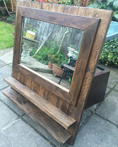 Mirror with shelves all done and ready to go. #hayneswoodrevival #hwr #wood #woodwood #woodwork #woodworking #reuse #revive #reclaim #recycle #pallet #palletwood #palletmirror #upcycle #mirror #shelves #rustic de hayneswoodrevival