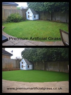 Before & After our low Maintenance, realistic looking  Artificial Grass in Harpenden was installed and supplied by us