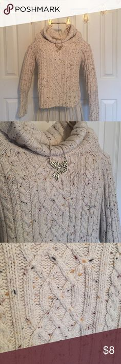 Cozy Cowl Neck Sweater Super comfy sweater. Cream colored with flecks of maroon yellow and black. Great for cool days or snuggling up reading a book! Make an offer, make it yours! Dress Barn Tops Sweatshirts & Hoodies
