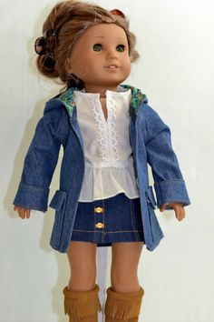 Denim coat by ThreadsAndSplinters on Etsy. Hand made following the LJC Oxford Square Coat pattern. Get it at http://www.pixiefaire.com/products/oxford-square-coat-18-doll-clothes. #pixiefaire #libertyjane #oxfordsquarecoat