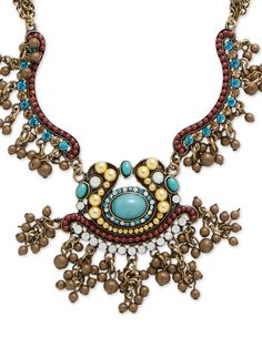 Turquoise Glass Statement Bib Necklace by Leslie Danzis at Gilt
