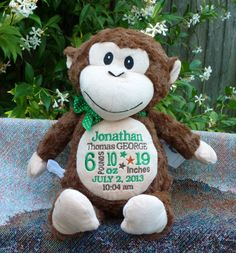Personalized baby gift monogrammed frog by worldclassembroidery personalized baby gift birth announcement monkey by worldclassembroidery 3799 negle Images
