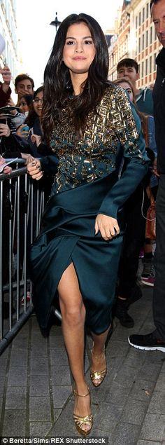Leggy Selena Gomez is flawless in a glitzy green dress in London