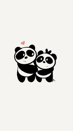 IPhone X Cute Couple Panda Wallpaper