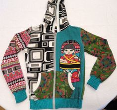 Desigual Girl's Hooded Cotton Jacket NWOT Green w/Bright Colors Sz 9-10 Fr Terry #Desigual #BasicJacket