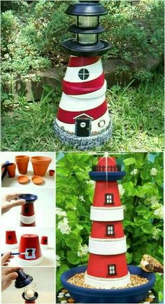 Light house using painted flower pots and other decoration items