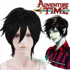 Adventure time Marshall Lee Short Black Heat Resistant Anime Cosplay Wig Hair for sale online Marceline, Cosplay Hair, Anime Cosplay, Marshall Lee Cosplay, Cheap Cosplay Costumes, Costume Ideas, Adventure Time Cosplay, Yaki Hair, Natural Hair Styles