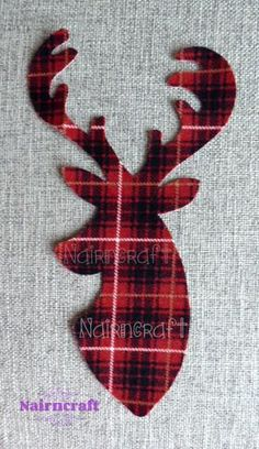 Stag Head Deer Head Buck Head Applique Patch Red £2.50 plus shipping anywhere in the world.