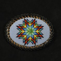 Beaded Lakota Sioux Blue Belt Buckle Size 13 Charlotte Cut Beads, Cowhide, Quill, and Black Leather, Waci'-ci Trading Co. at the Southern Ute Cultural Center & Museum