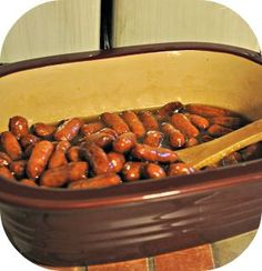 Pampered Chef Deep Dish Baker Apricot Smokies 2 pkgs. of lil' smokies 1 jar of apricot preserves Brown sugar (1 preserve jar full) Mix together in Deep Covered Baker. Microwave, covered for 20 minutes.