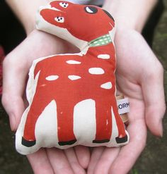 Baby rattle, Deer Silk screen printed by hand. kids and baby accessories and room decor