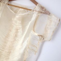 "Unique Gold Fringe and Organza Top FLASH SALE! A beautiful disaster...very unique light gold threads/hairs of drapey fringe let loose within two layers of sheer Ivory organza. One of a kind. Length: 23"", width: 38"", boxy fit, fits best on a size small and smaller bust, slips over the head. Nothing out there like this, a beauty, hard to let this go, no stains or tears. outlying Tops"