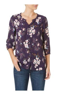 Rockmans 3/4 Sleeve Floral Print Blouse   Tops & Tunics   Rockmans