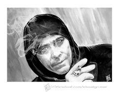 Sven Martinek tribute. Schoeller cardboard, watercolors,acrylic,white pencil. Smoke added with CS4.