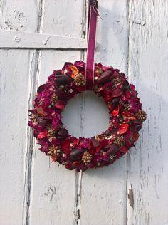 Dried Flower Valentine Wreath, wedding wreath, wedding decoration, valentine gift, dried flowers by BellaPoppyFlowerArt on Etsy