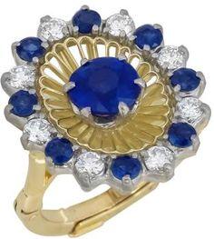 0.93ct Ceylon Sapphire  Diamond Gold Ring