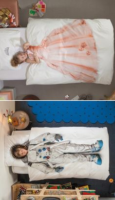 Cute bedding for kids - girls can be astronauts too, though.