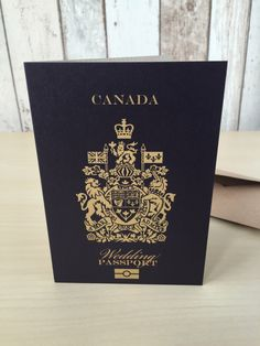Foil Blocking on Passport Wedding Invitation vintage vibes