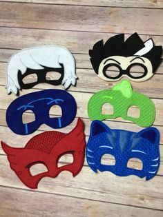 This listing is for set of themed masks. This set includes 1 of each: Catboy Gekko Owlette Luna Girl Romeo Night Ninja      This hand