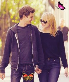Me and me (Spider)Man! Emma Stone beams as she steps out for a romantic stroll with Andrew Garfield @denizenjeans @nanysklozet @wendlingd<br> The Amazing Spider co-stars and couple pictured out and out in New York