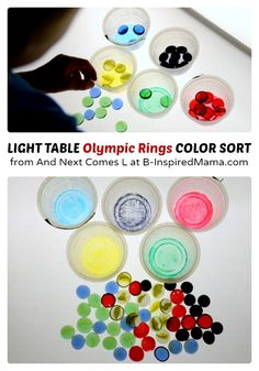 A Simple #Preschool Light Table Activity for Learning Colors - Olympic Style! #kids #learning #kbn