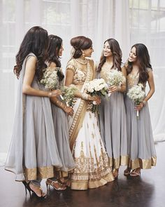 """""""I knew I wanted them to wear gray,"""" says Sejal of her bridesmaids. She…"""