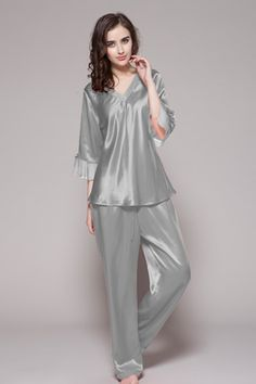 Silvergray color 100% pure and high quality are from online shop, made of 19 momme best silk with custom plus size and v neckline. $98 #pajamas #silk #lilysilk