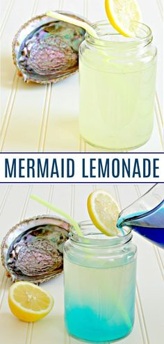 Non-Alcoholic Mermaid Lemonade Changes Color From Yellow to Blue! The best mermaid lemonade for kids! So hard to find a non-alcoholic mermaid lemonade.this mermaid lemonade changes color and is easy to make! Brilliant drink for mermaid parties! Colorful Drinks, Blue Drinks, Kid Drinks, Yummy Drinks, Cool Drinks, Summer Drinks Kids, Disney Drinks, Beverages, Healthy Drinks