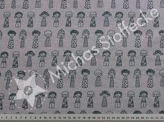Michas Stoffecke - Stretch-Sweat Cuddly Mädchen auf dunkelgrau S-SA-Cuddly300285